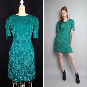 Mermaid Green Sequin Silk Flapper Sheath Dress